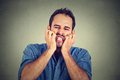 Desperate young man royalty free stock photo