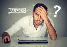 Desperate young man trying to log into his computer forgot password. Desperate man trying to log into his computer forgot password Royalty Free Stock Photo