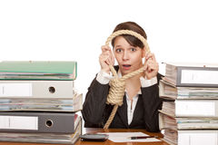 Desperated woman in office look through sling Royalty Free Stock Image