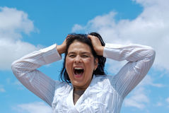 Desperated woman screaming Royalty Free Stock Photos