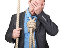 Desperation. Desperate man with loop instead of tie Royalty Free Stock Images
