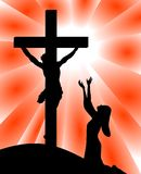 Desperation of Mary for Jesus Crucifixion. Illustration featuring silhouette of Mary on bended knees desperate in front of Jesus crucifixion Stock Photography