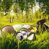 Desperdício e lixo contaminados floresta imagens de stock