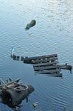 Desperdício industrial no lago Imagem de Stock
