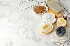 Desperdício zero, ferramentas de limpeza domésticas compostable Escova do prato do metal, esponja de celulose, panos, sabão, limã foto de stock royalty free