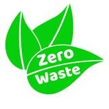 Desperdício zero que rotula o sinal ou o logotipo do texto com folhas verdes Conceito da gest?o de res?duos Reduza, reutilize, re ilustração stock