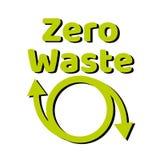 Desperdício zero que rotula o sinal ou o logotipo do texto Conceito da gest?o de res?duos Reduza, reutilize, recicle e recuse est ilustração do vetor