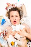 Desperdícios derramados na mulher Imagens de Stock