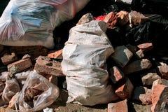 Desperdícios do desperdício municipal e da construção imagens de stock royalty free