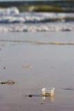 Desperdícios na praia Imagens de Stock Royalty Free