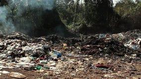 Desperd?cio da descarga de lixo com fumo vídeos de arquivo
