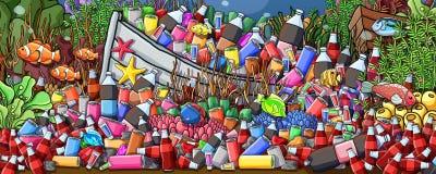 Desperdicios debajo de la pintura del mar ilustración del vector