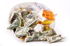 Desperdicios del dólar Imagen de archivo libre de regalías