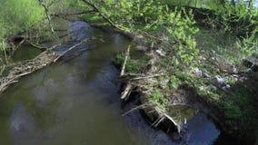 Desperdicios en la orilla del río almacen de video