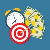 Despertador, calendário, alvo, dinheiro Fotos de Stock Royalty Free