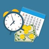 Despertador, calendário, dinheiro Foto de Stock