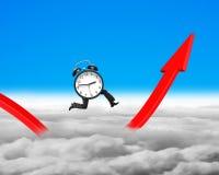 Despertador com os pés que correm em crescer o gráfico vermelho da seta Imagem de Stock Royalty Free