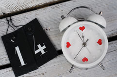 Despertador 14 de febrero - concepto del amor Fotografía de archivo libre de regalías