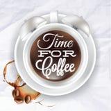 Despertador del kofem de la taza del cartel en papel arrugado Foto de archivo libre de regalías