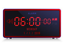 Despertador digital moderno do diodo emissor de luz com calendário Fotografia de Stock Royalty Free
