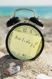 Despertador do relógio de ponto na praia ensolarada Imagem de Stock