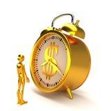 Despertador e figura dourados rendição 3d Fotos de Stock Royalty Free