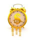 Despertador e figuras dourados rendição 3d Imagem de Stock