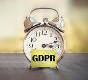 Despertador general de la regulación de la protección de datos de GDPR imagen de archivo