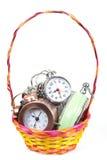Despertador na cesta Foto de Stock