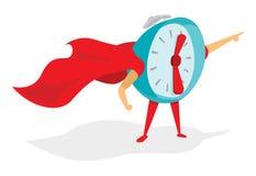 Despertador o superhéroe del tiempo con el cabo Foto de archivo