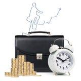 Despertador, pasta, moedas, mapa isolado Fotografia de Stock