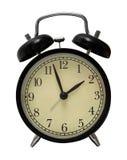 Despertador preto isolado Fotografia de Stock Royalty Free