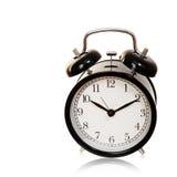 Despertador preto isolado com trajeto cliping Imagem de Stock Royalty Free