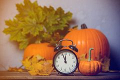 Despertador retro com as folhas com a abóbora no fundo Imagem de Stock