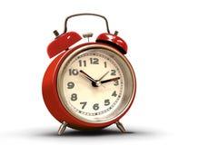 Despertador retro com corpo vermelho Fotos de Stock Royalty Free