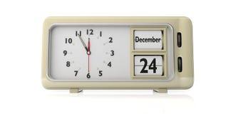 Despertador retro com a data da Noite de Natal, isolada o 24 de dezembro no fundo branco ilustração 3D ilustração royalty free