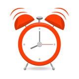 Despertador vermelho com os sinos isolados no fundo branco ilustração stock