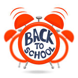 Despertador vermelho com sinos e texto de volta à escola Despertador isolado no fundo borrado Ilustração do vetor ilustração royalty free