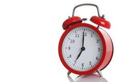 Despertador vermelho isolado no branco Imagem de Stock