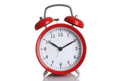 Despertador vermelho isolado no branco Fotografia de Stock Royalty Free