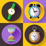 Despertador viejo del reloj de arena del vintage, cronómetro, vector del icono del reloj - sistema del icono del reloj de tiempo Imagen de archivo