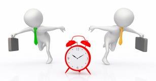 Despertador y figuras 3D como reloj de funcionamiento del peopleAlarm del negocio y figuras 3D como hombres de negocios de funcio stock de ilustración