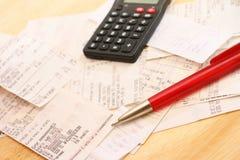 Despesas calculadoras Imagens de Stock Royalty Free