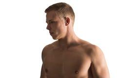Despido do homem caucasiano bonito parcialmente isolado no branco Imagem de Stock Royalty Free
