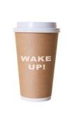 Despierte el café para ir taza Imágenes de archivo libres de regalías