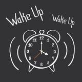 Despierte el cartel de las letras del despertador Vector drenado mano Foto de archivo