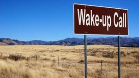 Despierte la señal de tráfico del marrón de la llamada Foto de archivo