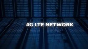Desplazamiento sobre la declaración digital de la cuenta del teléfono celular con el texto - red de 4G LTE ilustración del vector