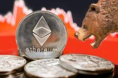 Desplome crypto del precio ceñudo de Ethereum foto de archivo libre de regalías