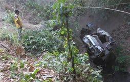 Desplome del accidente del autobús Foto de archivo libre de regalías
